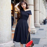 ミモレ丈 パーティーフレア ブラック マルチユース ワンピース ドレス