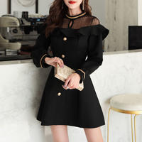 フリル デコルテ ブラック ドレス