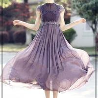 プリーツ 刺繍 ハイウエスト ワンピース  シフォン ドレス