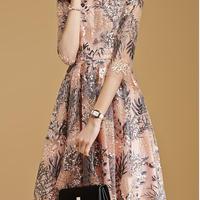 パールピンク 二次会 パーティー 結婚式 刺繍 半袖ドレス