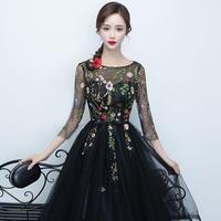 大人上品 花柄 刺繍 ドレス 結婚式 パーティードレス ワンピース