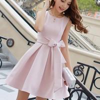 リボン キュート  フレア スカート お呼ばれ ミニ ワンピース ドレス