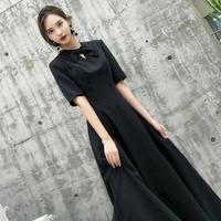 綺麗目 エレガント イブニングドレス  ブラック ロング ドレス