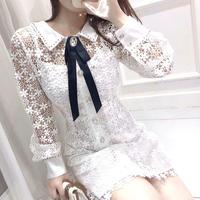 レイス 花柄 リボン ブローチ ドレス