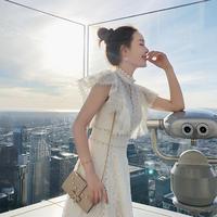 白い妖精風 刺繍レース ロングドレス