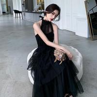 ホルターネック  エレガント 上品 ブラック パーティー  ドレス