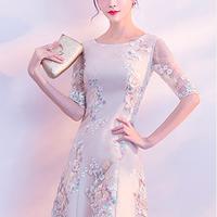 レース ライトピンク パーティー 結婚式 お呼ばれ  ドレス 上品  ドレス