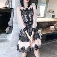 シフォン ブラック レース デート パーティー ワンピース ドレス