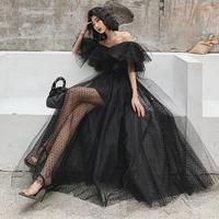 シースルー レース ブラック ゴージャス  エレガント  ベアトップ ロング  ドレス