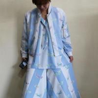 【ホワイト ブルー ストライプ オスプレイ】×【バギーパンツ】
