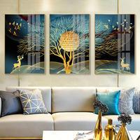 お洒落な壁掛けアートパネル3点セット / 各40×60cm 黄金の木 シルエット 鹿 ポスター 絵画 ファブリックパネル