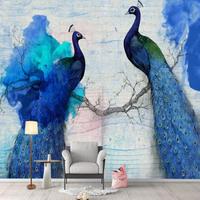 3D 壁紙 1ピース 1㎡ 青い孔雀 ピーコック インテリア装飾 寝室 リビング 客室 豪華