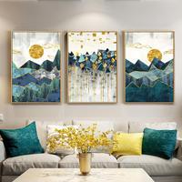 お洒落な壁掛けアートパネル3点セット / 各21×30cm 北欧抽象的な幾何学山風景 ポスター 絵画 ファブリックパネル