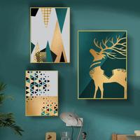お洒落な壁掛けアートパネル3点セット / 各40×60cm 黄金 鹿 アートプリント ポスター 絵画 ファブリックパネル