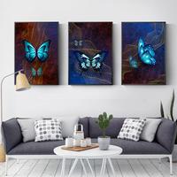 お洒落な壁掛けアートパネル3点セット / 各40×60cm ブルーバタフライ 蝶々 ポスター 絵画 ファブリックパネル