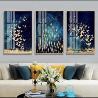 お洒落な壁掛けアートパネル3点セット / 各40×60cm 黄金 魚の群れ 蝶々 アート ポスター 絵画 ファブリックパネル