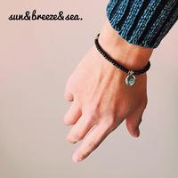 ビーズブレスレット 2・メンズ・sun&breeze&sea.・ホワイトハーツ・ガラスビーズ・日本製