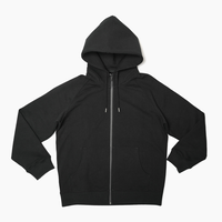 Raglan Zip Hooded Sweatshirt  Black  19S-104
