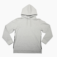 Pullover Side Zip Hooded Sweatshirt  Heather Gray  19S-103