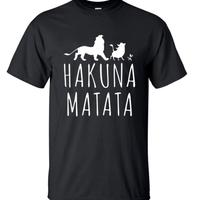 ハクナマタタ メンズ Tシャツ 夏綿 100%の高品質 TシャツスリムフィットカジュアルTシャツ ライオンキングトップス(ブラック)