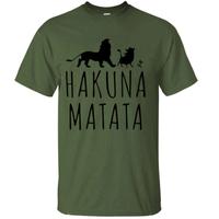 ハクナマタタ メンズ Tシャツ 夏綿 100%の高品質 TシャツスリムフィットカジュアルTシャツ ライオンキングトップス(ダークグリーン1)