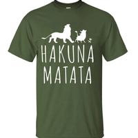 ハクナマタタ メンズ Tシャツ 夏綿 100%の高品質 TシャツスリムフィットカジュアルTシャツ ライオンキングトップス(ダークグリーン2)