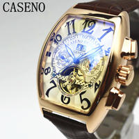 caseno 自動巻き 機械式腕時計 クロノグラフ メンズ 革バンド  トゥールビヨン ゴールド