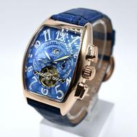 caseno 自動巻き 機械式腕時計 クロノグラフ メンズ 革バンド  トゥールビヨン ブロンズ