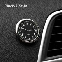 カー アクセサリー 時計 自動車ステッカー 装飾(ブラックA)