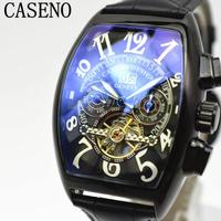 caseno 自動巻き 機械式腕時計 クロノグラフ メンズ 革バンド  トゥールビヨン ブラック