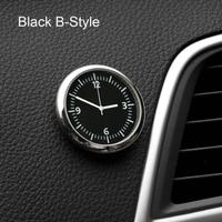 カー アクセサリー 時計 自動車ステッカー 装飾(ブラックB)
