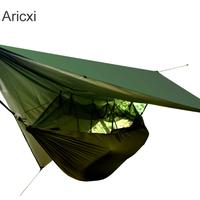 テント付きハンモック 夏 ミリタリーツリーテントメッシュポータブル用屋外キャンプ
