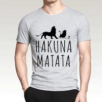 ハクナマタタ メンズ Tシャツ 夏綿 100%の高品質 TシャツスリムフィットカジュアルTシャツ ライオンキングトップス(グレー1)