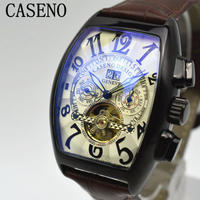 caseno 自動巻き 機械式腕時計 クロノグラフ メンズ 革バンド  トゥールビヨン マルチカラー