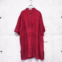 ∼70s S/S silk band collar design shirt