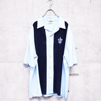 80s 2tone emblem open collar shirt