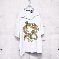 doragon printed open collar shirt