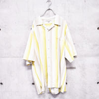open collar silk stripe shirt