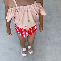 gingham check x berry swimwear