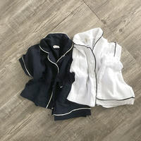リネンmixパイピング半袖room wear