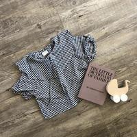 bigカラーフロント ribbon gingham blouse