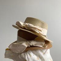 コットンリボンカンカン帽