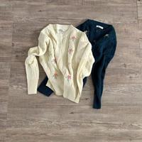 retro flower 刺繍cardigan (mama)