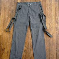 mcq alexander mcqueen suspenders wide pants