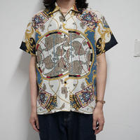 "80s vintage ""航海図""polyester shirt"