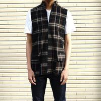 新品 YS check wool vest