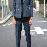 blue double set up suit