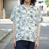 80~90s vintage polyester open-collared shirt C