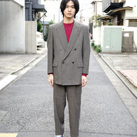 80-90s vintage herringbone double set up suit