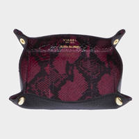 VIANEL NEW YORK LEATHER TRAY - SNAKE WINE WITH BLACK (OLIVIA PALERMO)